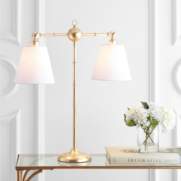 2-Light Library Metal Table Lamp, Gold Leaf