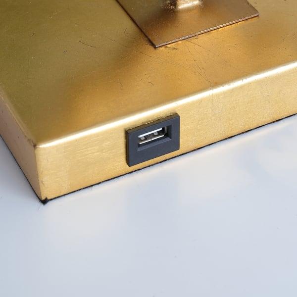 Iron Ogee Trellis Modern USB Table Lamp, Gold