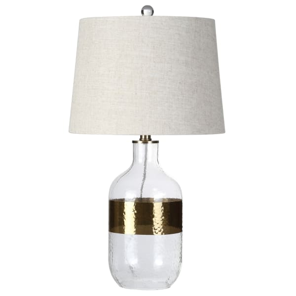 Glass Table Lamp, Clear/Brass
