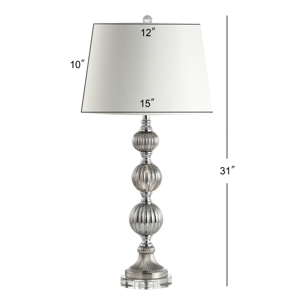 Triple Sphere Glass/Crystal Table Lamp, Smoked Grey