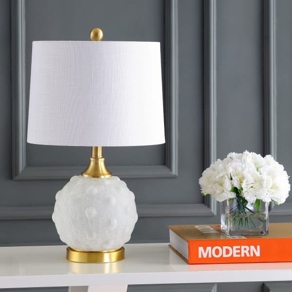 Dotted Glass/Metal Table Lamp, White/Brass Gold