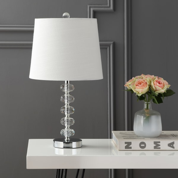 Glass/Metal Table Lamp, Clear/Chrome (Set of 2)