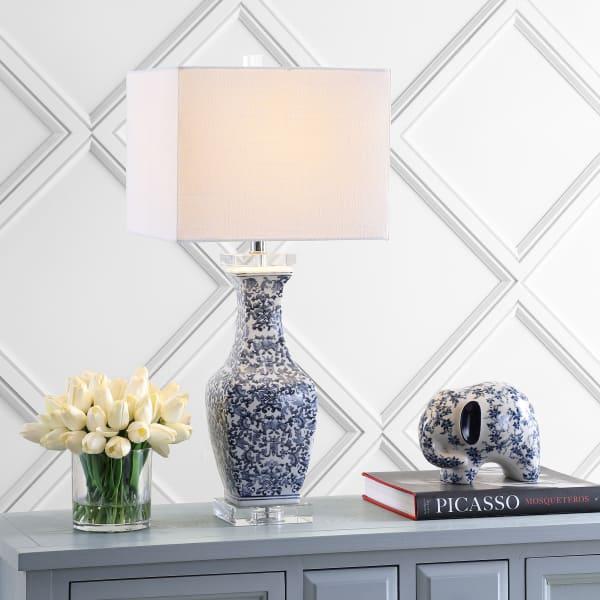 Ceramic/Crystal Table Lamp, Blue/White