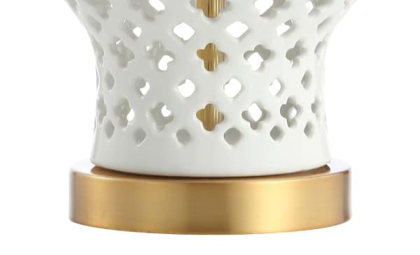 Quatrefoil Fretwork Pierced Ginger Jar Ceramic/Metal Table Lamp, White