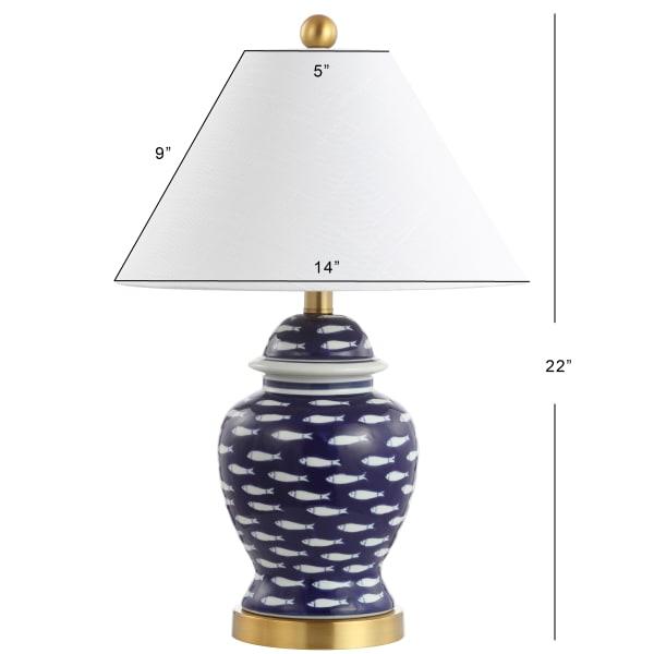 School of Fish Ginger Jar Ceramic/Metal Table Lamp, Navy