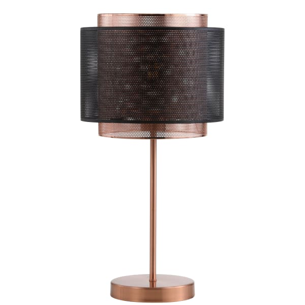 Metal Table Lamp, Copper/Black