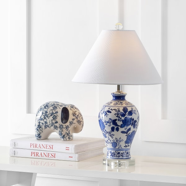 Ceramic/Crystal Chinoiserie Floral Table Lamp, Blue/White