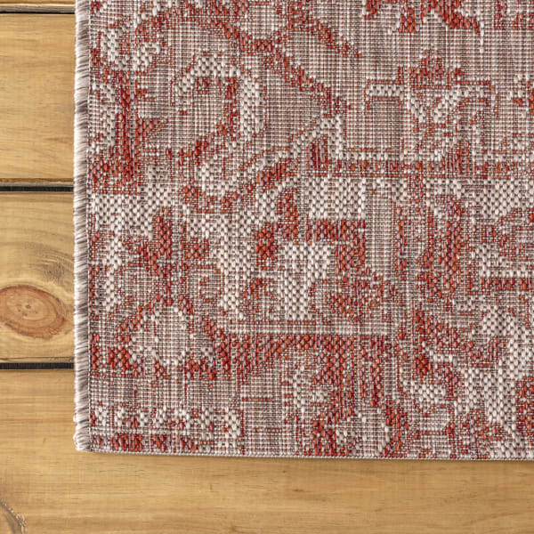 Bohemian Medallion Textured Weave Red and Taupe 7.75' x 10' Outdoor Area Rug