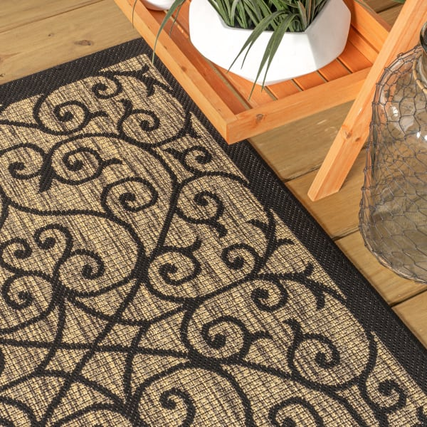 Madrid Vintage Filigree Textured Weave Black and Khaki 7.75' x 10' Outdoor Area Rug