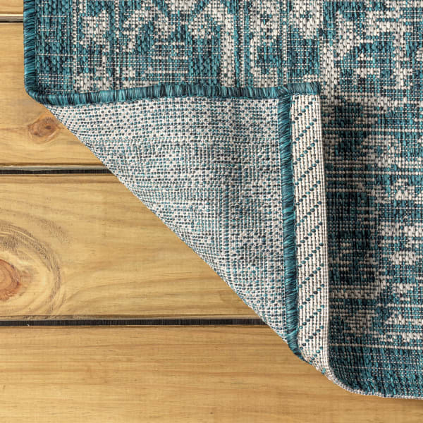 Bohemian Medallion Textured Weave Teal and Gray 4' x 6' Outdoor Area Rug