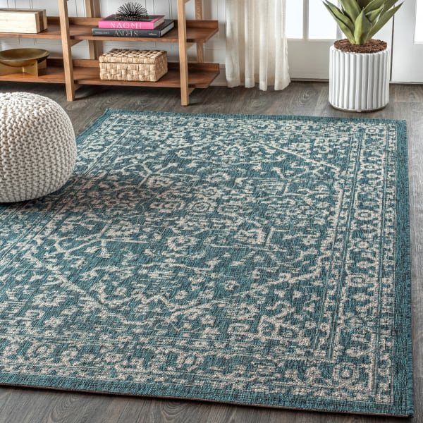 Bohemian Medallion Textured Weave Outdoor Teal/Gray 8' x 10' Area Rug