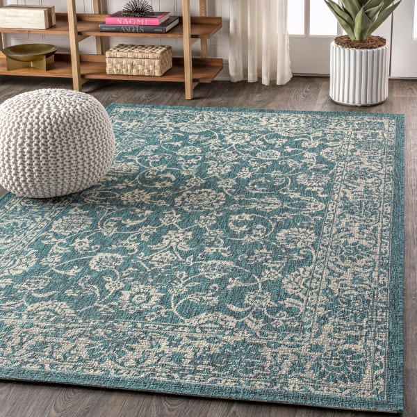 Bohemian Textured Weave Floral Teal and Gray 5.25' x 7.5' Outdoor Area Rug