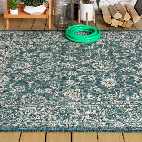 Bohemian Textured Weave Floral Teal and Gray 7.75' x 10' Outdoor Area Rug