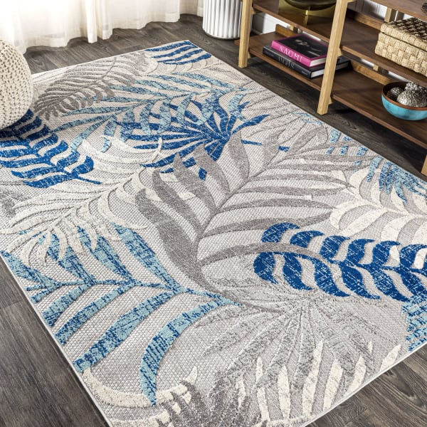 Tropics Palm Leaves Outdoor Gray/Blue 8' x 10' Area Rug