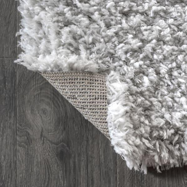 Plush Shag Mingled Gray/Ivory 5' x 8' Area Rug