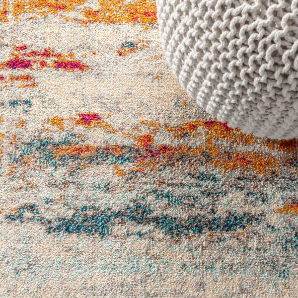 Contemporary Modern Abstract Brushstroke Cream/Blue Area Rug