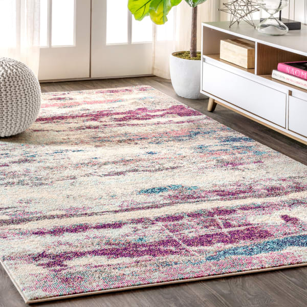 Contemporary Modern Abstract Brushstroke Cream and Pink 5.25' x 7.5' Area Rug