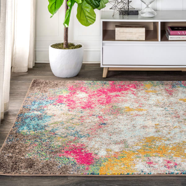 Contemporary Modern Abstract Multi Yellow 5.25' x 7.5' Area Rug