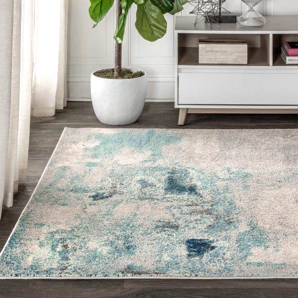 Contemporary Modern Abstract Vintage Cream/Blue 8' x 10' Area Rug