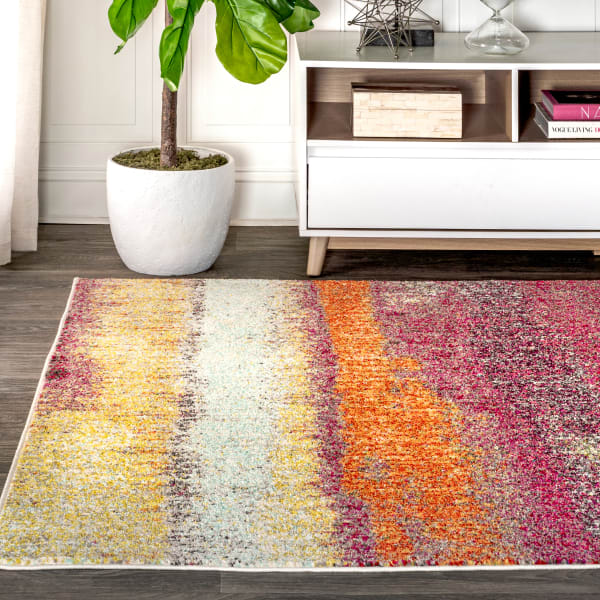 Contemporary Modern Abstract Vintage Cream/Pink 5' x 8' Area Rug