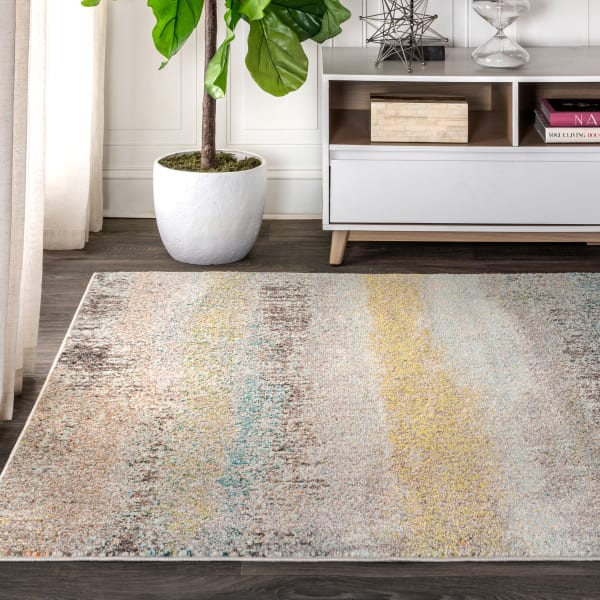 Contemporary Modern Abstract Vintage Cream and Yellow 4' x 6' Area Rug