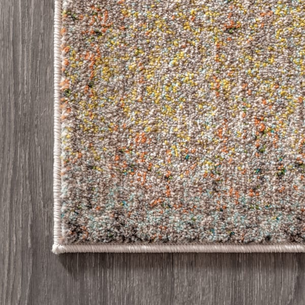 Contemporary Modern Abstract Vintage Cream and Yellow 5.25' x 7.5' Area Rug