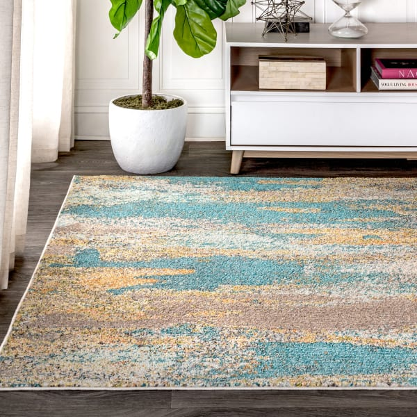 Contemporary Modern Abstract Vintage Waterfall Blue/Brown/Orange 5' x 8' Area Rug