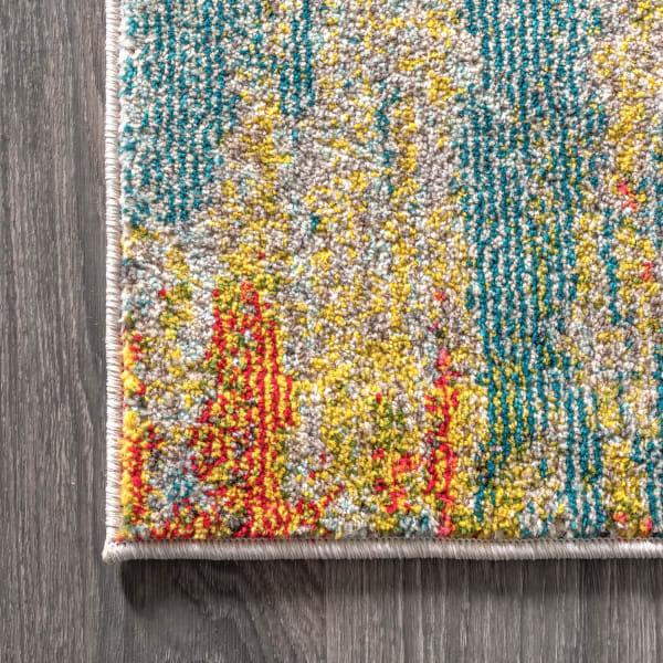Contemporary Modern Abstract Vintage Waterfall Blue Cream and Yellow Area Rug