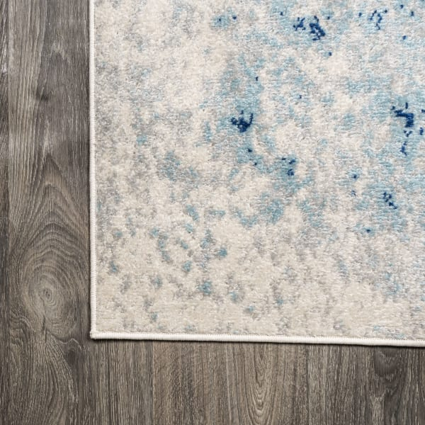 Modern Abstract Cream and Blue 4' x 6' Area Rug