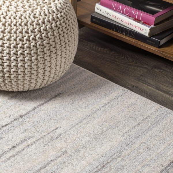 Modern Half-Stripe Gray and Cream  4' x 6' Area Rug