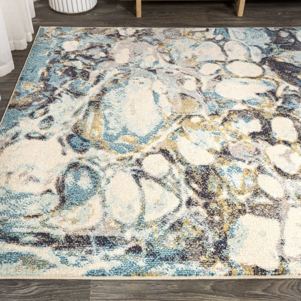 Blue & Beige Marbled Abstract Blue/Beige  5' x 8' Area Rug