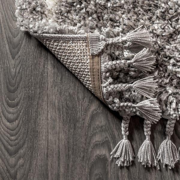 Shag Plush Tassel Moroccan Geometric Trellis Grey/Cream  4' x 6' Area Rug