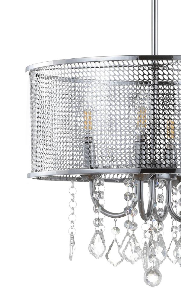 Metal/Crystal Adjustable LED Drop Pendant, Chrome