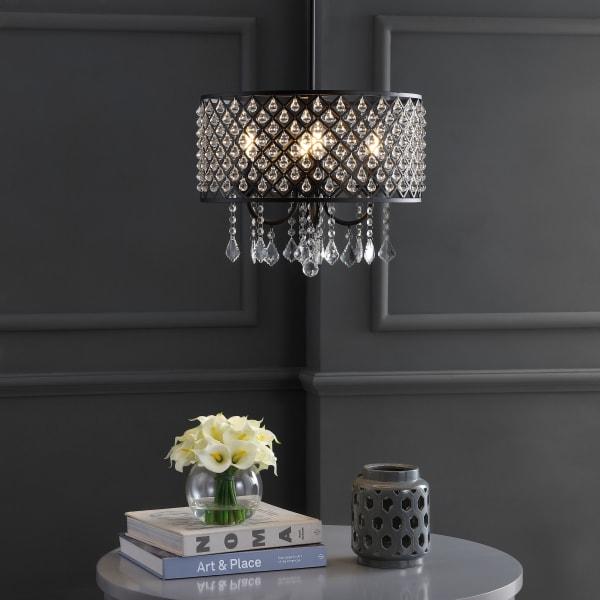 Metal/Crystal Adjustable LED Drop Pendant, Black/Clear