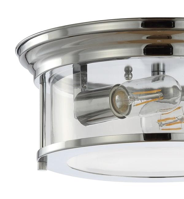 Metal/Glass LED Flush Mount, Chrome