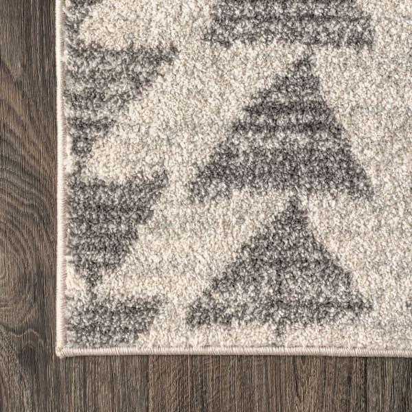 Moroccan Triangle Geometric  Cream/Gray 4' x 6' Area Rug