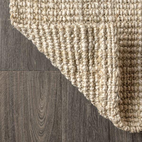 Hand Woven Chunky Jute Ivory 5' x 8' Area Rug