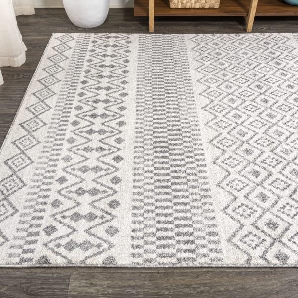 Berber Geometric Stripe Cream/Gray Area Rug