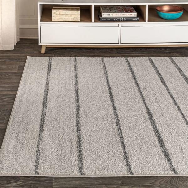 Minimalist Stripe Cream/Gray Area Rug