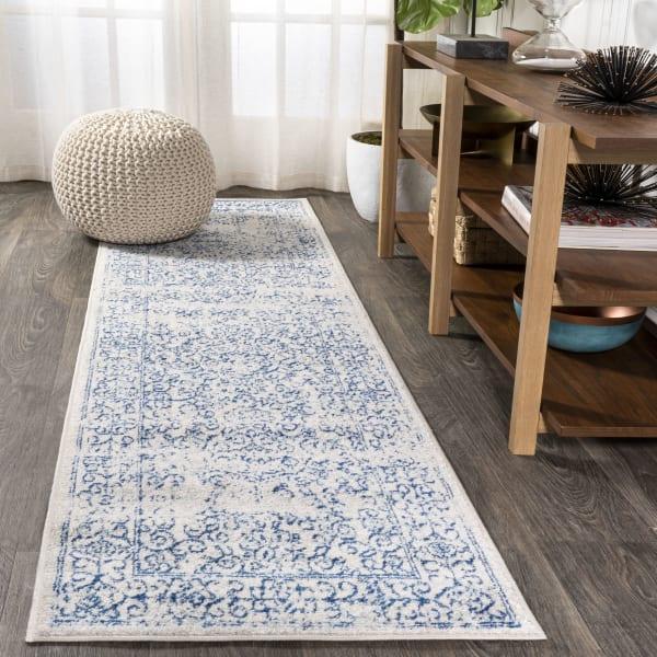 Azul Filigree Blue and White Cream/Blue 2.25' x 8'' Runner Rug