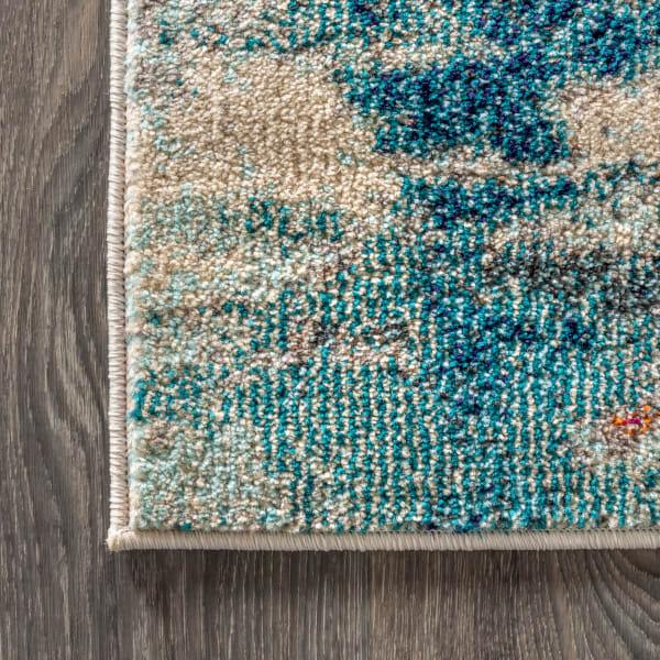 Contemporary POP Modern Abstract Brushstroke Cream/Blue  3' x 5' Area Rug