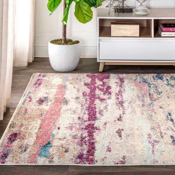 Contemporary POP Modern Abstract Brushstroke Cream/Pink 3' x 5' Area Rug