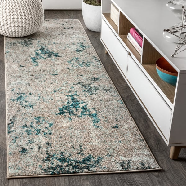 Contemporary POP Modern Abstract Vintage Faded Gray/Blue 2.25' x 8' Runner Rug