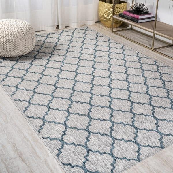 Arabesque Ogee Trellis Outdoor  Gray/Teal 4' x 6' Area Rug