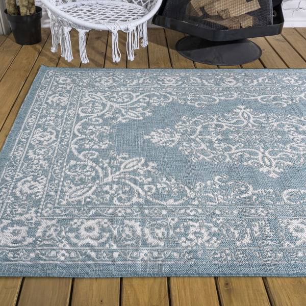 Galon Filigree Teal/Ivory 5' x 8' Outdoor Area Rug