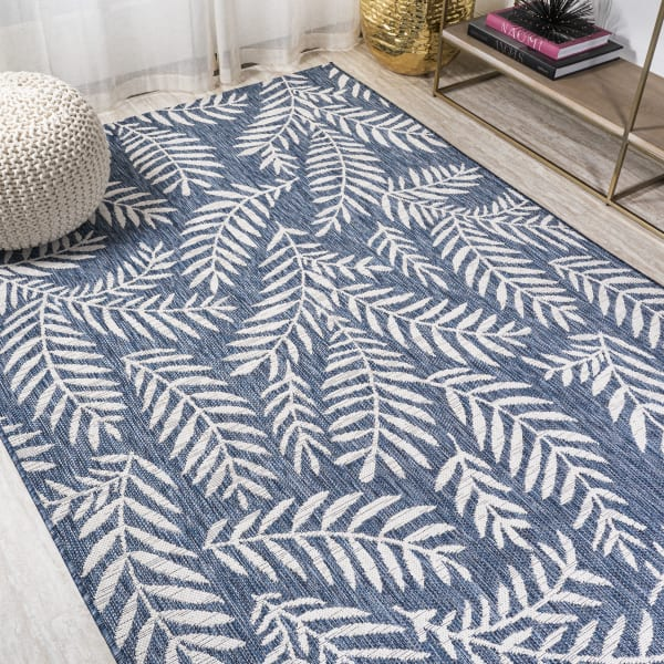 Nevis Palm Frond Navy/Ivory Outdoor Area Rug
