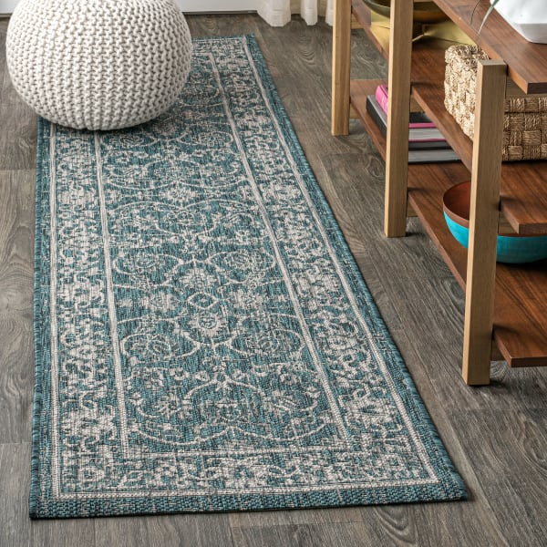 Vine and Border Textured Weave Outdoor Teal/Gray Rug: 2.25' x 8' Runner Rug