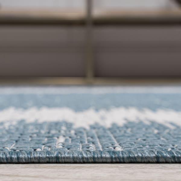 Scandi Minimalist Border Outdoor Aqua/Ivory Rug: 2.25' x 8' Runner Rug