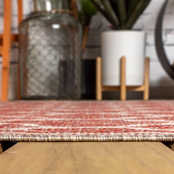 Trebol Moroccan Trellis Textured Weave Outdoor Red/Beige 2.25' x 8' Runner Rug