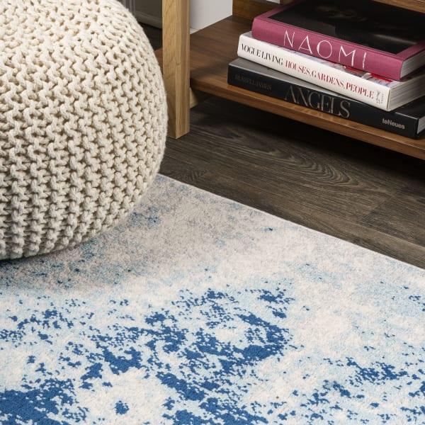 Modern Abstract Cream/Blue 3' x 5' Rectangular Area Rug